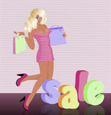 Blonde woman with shopping bag, vector illustration — Stockvector