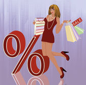 Sexual woman and shopping bag, vector — Stock Vector