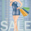 Shopping in city. Sexy woman with shop bags, vector illustration — Stock Vector