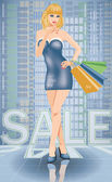 Shopping in city. Sexy woman with shop bags, vector illustration — ストックベクタ