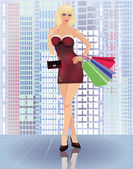 Shopping in city, young woman with handbags, vector illustration — ストックベクタ