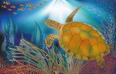 Underwater world wallpaper with turtle, vector illustration — Stock vektor