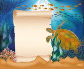 Underwater card with turtle and old paper scroll, vector illustration — Stock Vector