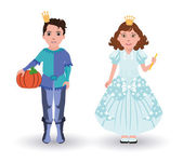 Little Cinderella princess and prince with pumpkin, vector illustration — Stock Vector
