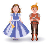Little Cinderella princess and  prince with glass slipper, vector illustration — Stock Vector