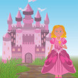 Beautiful princess and magic fairy tale castle, vector illustration — Stock Vector #47346083