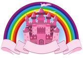 Fairy Tale pink magic castle and rainbow, vector illustration — Stock Vector