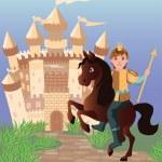 Little prince and fairy tale magic castle, vector illustration — Stock Vector #47393729