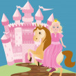 Little cute princess and pony, vector illustration — Stock Vector #47434051