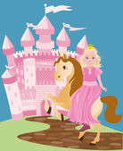 Little cute princess and pony, vector illustration — Stock Vector