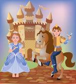 Pequeña cenicienta y el príncipe, ilustración vectorial — Vector de stock