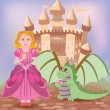 Cute princess and little dragon, vector illustration — Stock Vector #47760707