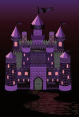 Old witch castle, vector illustration — Stockvektor