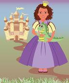 Little princess and cute dragon, vector illustration — Vettoriale Stock