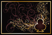 Casino clubs golden card, vector illustration — Vector de stock