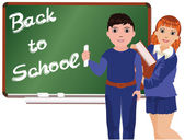 Back to School . Little boy and girl , vector illustration — Stock Vector