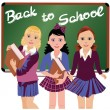 Back to School. Three cute schoolgirls  vector illustration — Stock Vector #49231335