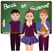 Back to School. Little schoolboys and schoolgirl, vector illustration — Stock Vector