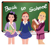 Back to School. Little schoolgirls. vector illustration — Stock Vector