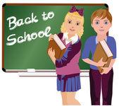 Back to School  Little cute school boy and girl, vector illustration — Stock Vector