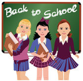 Back to School. Three cute schoolgirls  vector illustration — Stock Vector