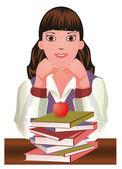 Back to School.  Little cute schoolgirl and apple vector — Stock Vector