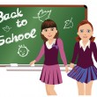 Back to School. Cute little schoolgirls. vector illustration — Stock Vector #49291677