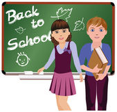 Back to School. Little cute schoolboy and schoolgirl, vector illustration — Stock Vector