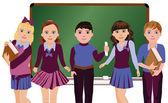 Back to School. Little schoolboys and schoolgirls, vector illustration — Stock Vector