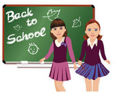 Back to School. Cute little schoolgirls. vector illustration — Stock Vector