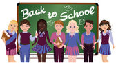 Back to School. Little schoolkids, vector illustration — Stock Vector