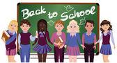 Back to School. Little schoolkids, vector illustration — Stock Vector