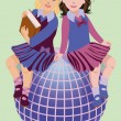 Back to School. Two cute schoolgirls with book and globe, vector illustration — Stock Vector #49397371