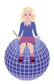 Back to School. Little cute schoolgirl and globe. vector illustration — 图库矢量图片