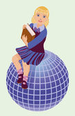 Back to School.  Little  schoolgirl with book and globe  vector illustration — 图库矢量图片