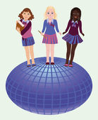 Back to school. Little school girls and globe, vector illustration — Stock Vector