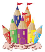 Back to School.  Magic school castle, vector illustration — Stock Vector