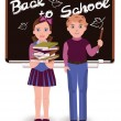 Back to School. Little cute schoolkids, vector illustration — Stock Vector #49790245