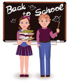 Back to School. Little cute schoolkids, vector illustration — ストックベクタ