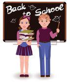 Back to School. Little cute schoolkids, vector illustration — Stock Vector