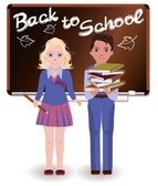Back to School. Little schoolchild, vector illustration — Stock Vector