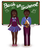 Back to School. Little schoolkids, vector illustration — Vettoriale Stock