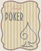 Vintage poker card spades, vector illustration — Stock Vector
