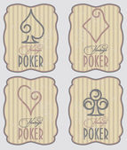 Vintage poker card hearts, vector illustration — Stock Vector
