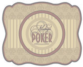 Vintage poker clubs label, vector illustration — Stock Vector