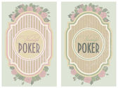 Two vintage poker label, vector illustration — Stock Vector