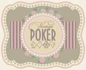 Vintage poker label banner, vector illustration — Stok Vektör