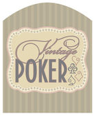 Casino vintage poker label, vector illustration — Stock Vector