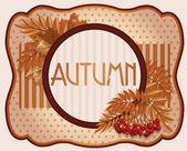 Old autumn postcard with rowan berry, vector illustration — Stock Vector