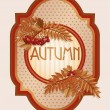 Vintage autumn card with rowan berry leaves, vector illustration — Stock Vector